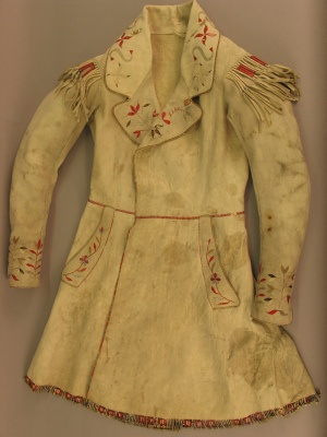 Coat of European cut made of buckskin and porcupine quills (1830)