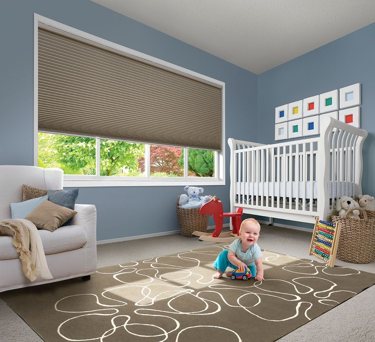 Introducing the LUXAFLEX® DUETTE® LiteRise Operating System, a completely cordless system for operating energy efficient Duette Shades, for the ultimate in child safety. With the LiteRise Operating System, the Duette Shade is simply raised or lowered with your hand on the bottomrail of the blind.  #nursery #childfriendly #luxaflex #duette #luxaflexduette #childsafety #duetteliterise