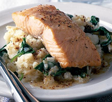 Salmon and mustardy celeriac mash. This mash goes well with the creme fraiche chicken.