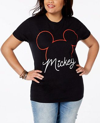 d78196644 Shop Disney Plus Size Cotton Mickey Mouse T-Shirt online at Macys.com. A  simple outline and stylish script create a fresh salute to Mickey Mouse at  the ...