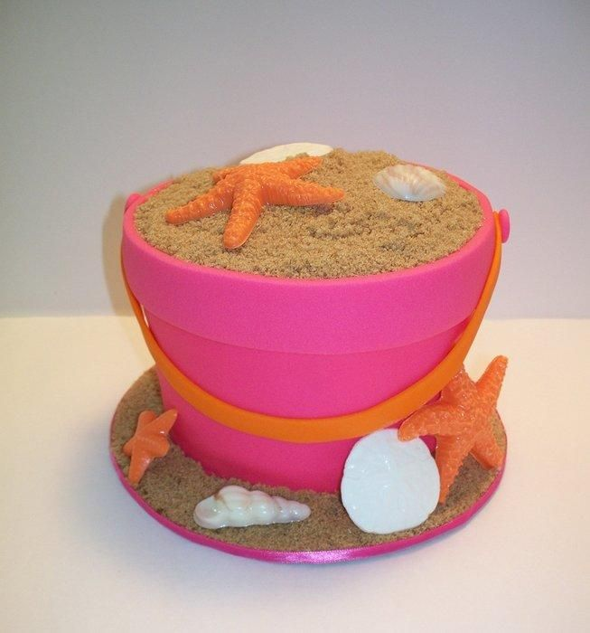 fondant sand bucket cake with vanilla starfish, sand dollar, sea shells. Hand decorated sugar cookies with royal icing and matching cupcakes.