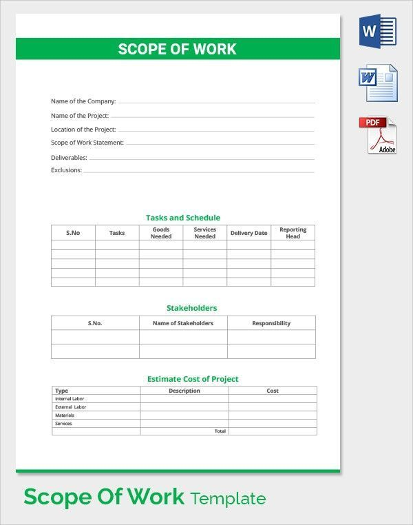 Scope Of Work Template Fresh Scope Of Work 22 Dowload Free Documents In Pdf Word Excel Of 34 Statement Of Work Word Template Employee Handbook Template
