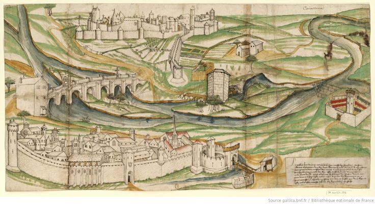 Esquisse de 1342, représentant Carcassonne avec sa Bastide et sa Cité. Document: Bibliothèque Nationale de France