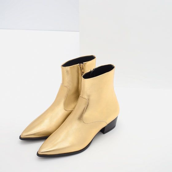 Image 4 of GOLD TONE FLAT ANKLE BOOTS from Zara | Fashion for tall women |