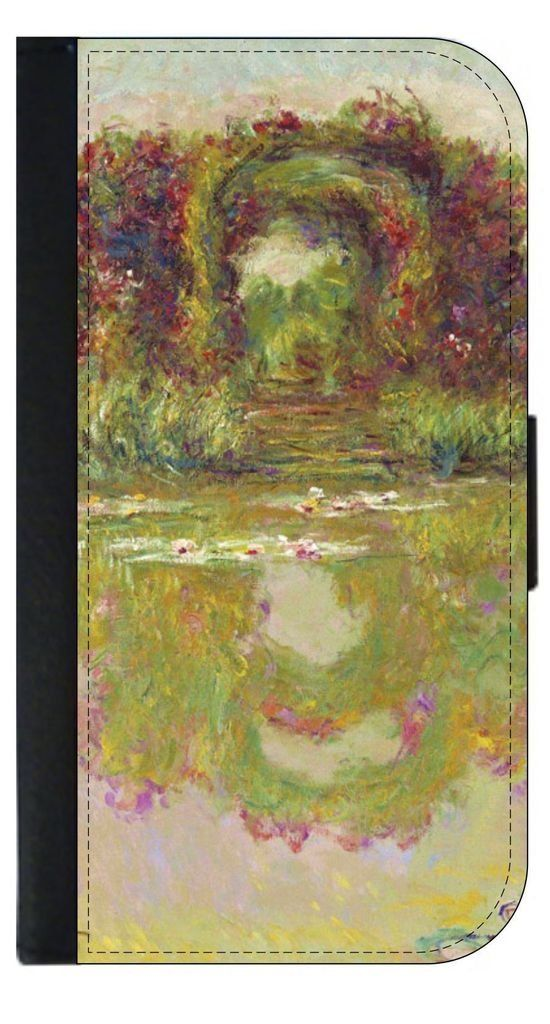 Claude Monet-Rose Arch-Giverny Apple iPhone 7 Leather and Suede Wallet Style Phone Case Made in the USA. Quality Sturdy Wallet iPhone Case with Magnetic Flap Closure and 3 Inner Pockets for Storage; Compatible with the standard iPhone 7 phone model (Not the Compatible with the iPhone 7 Plus/7+). Quick Processing and Shipping! Satisfaction Guaranteed!. Vibrant Flat Printed Design; No Textured/3d/Metallic Print. Rosie Parker Inc.'s designs and images are registered with the United States...