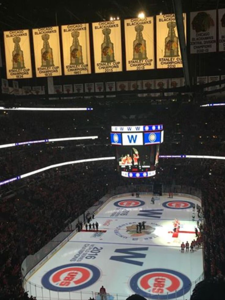Cubs World Series victory celebrated at the Blackhawks game 2016