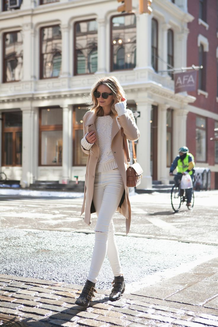 SOHO - Jessica wearing an ASOS Trench, Zara Knit, Topshop Jeans, Chloe Boots, Proenza Schouler Bag and Celine Sunglasses.