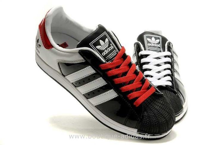 femmes adidas superstar ii blanc rouge noir chaussure. Black Bedroom Furniture Sets. Home Design Ideas