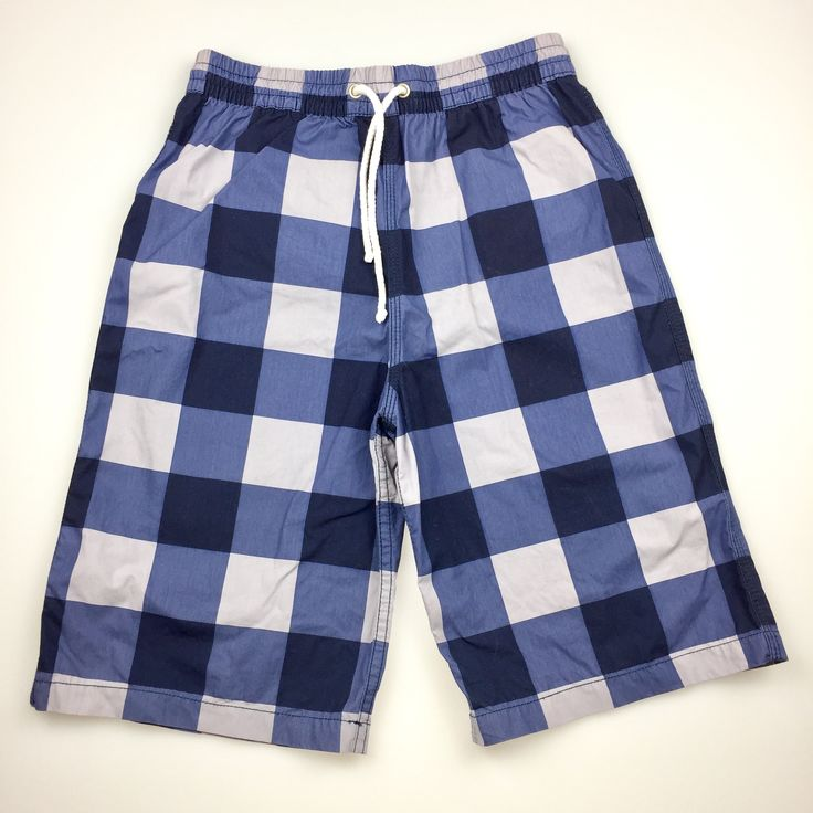 SEED, blue checked board shorts with internal mesh/netting, excellent pre-loved condition (EUC), boy's size 8-9, $15