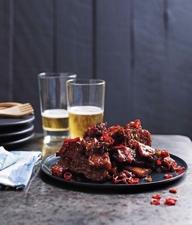 Australian Gourmet Traveller recipe for Hot spicy fried tempeh sambal (Sambal goreng tempe)