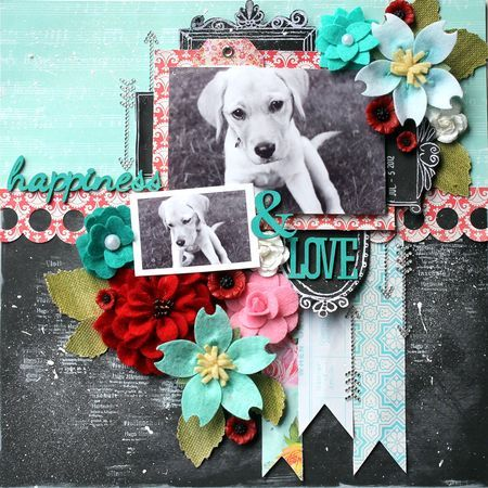 Optimist layout by Cari Fennell for Prima using Optimist papers, felt flowers, wood icons and stamp.