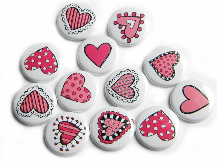 12 Pink Doodle Hearts Flat Back Buttons. $3.60, via Etsy.