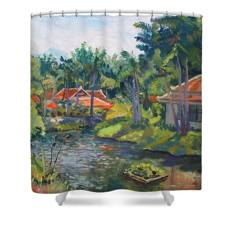 SAMUI LIFE by ALINA MALYKHINA.  Belongs to the Gallery RUSSIAN ARTISTS NEW WAVE. #RussianArtistsNewWave #AlinaMalykhina #Water #Summer #Love #Joy #Art #Painting #ArtForHome #Prints #Samui #Thailand #Travel #Leisure #Shower #ShowerCurtains #BathroomIdeas