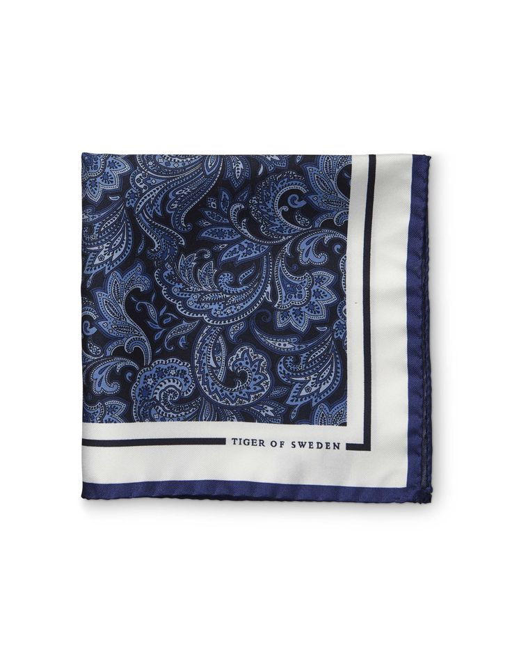 Antonetto handkerchief - Men's handkerchief in pure silk twill. Features all-over printed paisley pattern. Solid border with Tiger of Sweden logo.