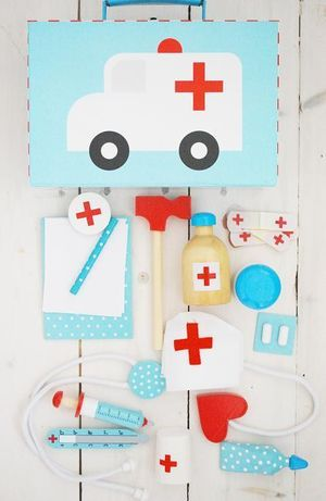 """play doctor"" - get dressed up, bandage Mummy's foot, listen to Teddy's heart, band aid mummy's leg, give dolly medicine"