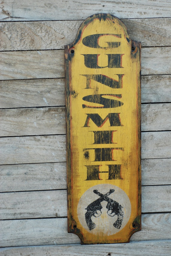Old gunsmith sign made from reclaimed plywood by KingstonCreations, $65.00