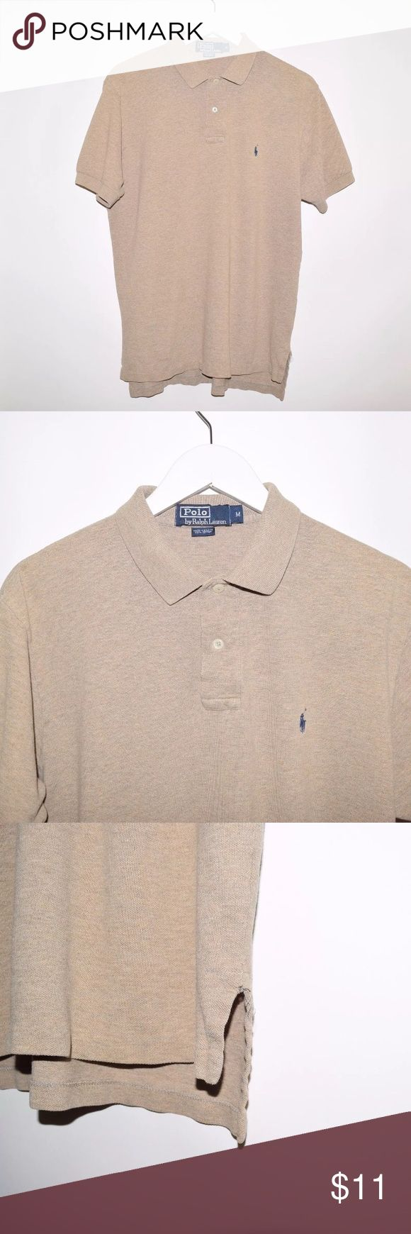 Polo Ralph Lauren 100% Cotton Polo Shirt Brand: Polo Ralph Lauren Item name: Men's 100% Cotton Polo Shirt  		 Color: Tan Condition: This is a pre-owned item. This item is in excellent condition with no stains, holes, etc. However, there are small snags on the bottom of the shirt at both sides (see photo). Comes from a smoke free home. Size: Medium Measurements:  Pit to Pit - 21.5 inches Shoulder to base -  Front: 27 inches Back: 28 inches Polo by Ralph Lauren Shirts Polos