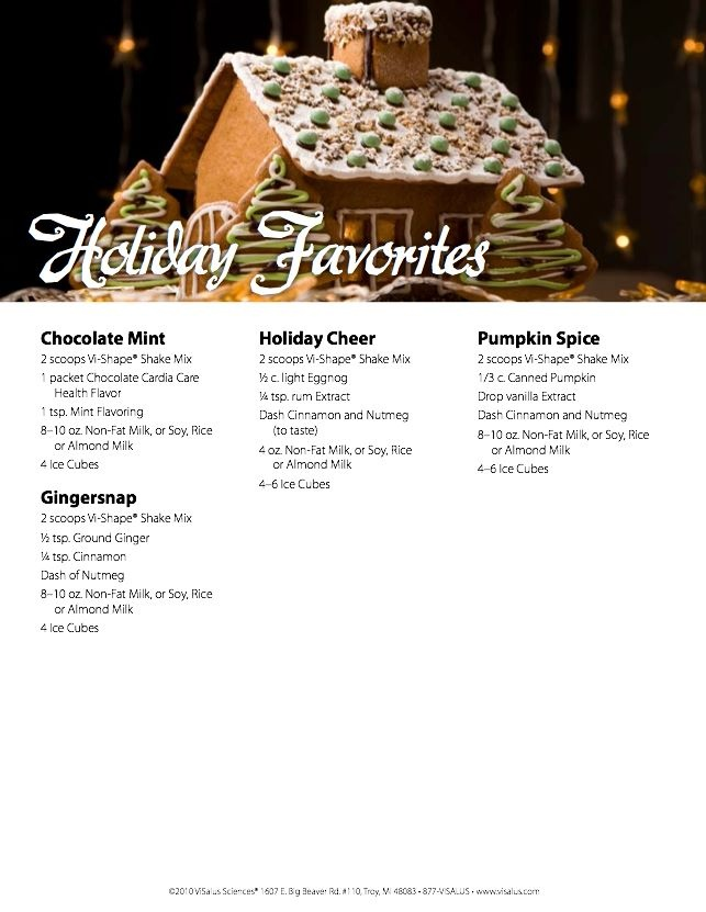 Holiday Favorites Body By Vi Shake Recipes