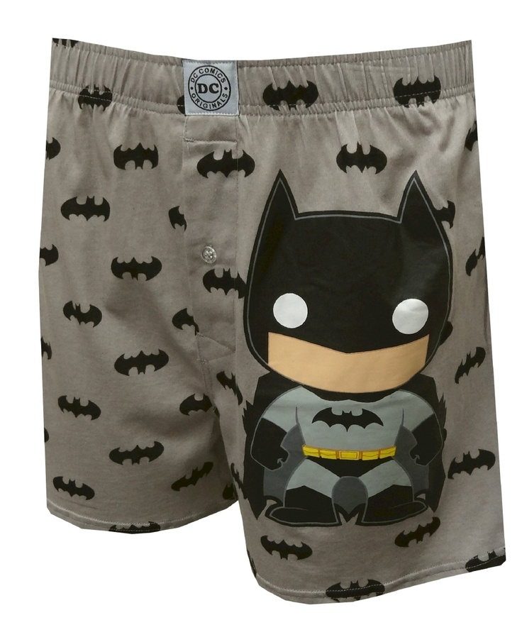Funko DC Comics Batman Bobblehead Boxer Shorts, $13.50 up to XXL  A super fun twist on a classic favorite! These boxer shorts for men feature the Funko bobblehead version of DC Comics' Batman on a super soft premium quality gray boxer. The background pattern features the Batman logo. Machine washable with button fly and covered elastic waistband. .