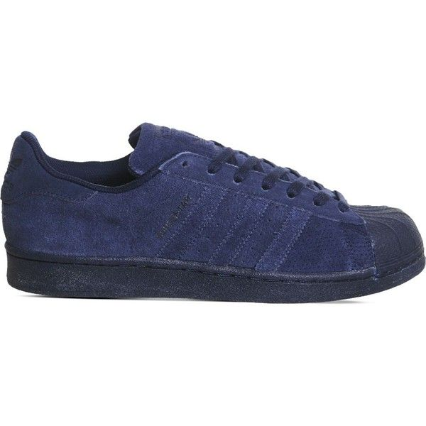 ADIDAS Superstar 1 suede trainers ($105) ❤ liked on Polyvore featuring shoes, sneakers, night indigo, adidas shoes, laced up shoes, suede leather shoes, lace up sneakers and adidas footwear