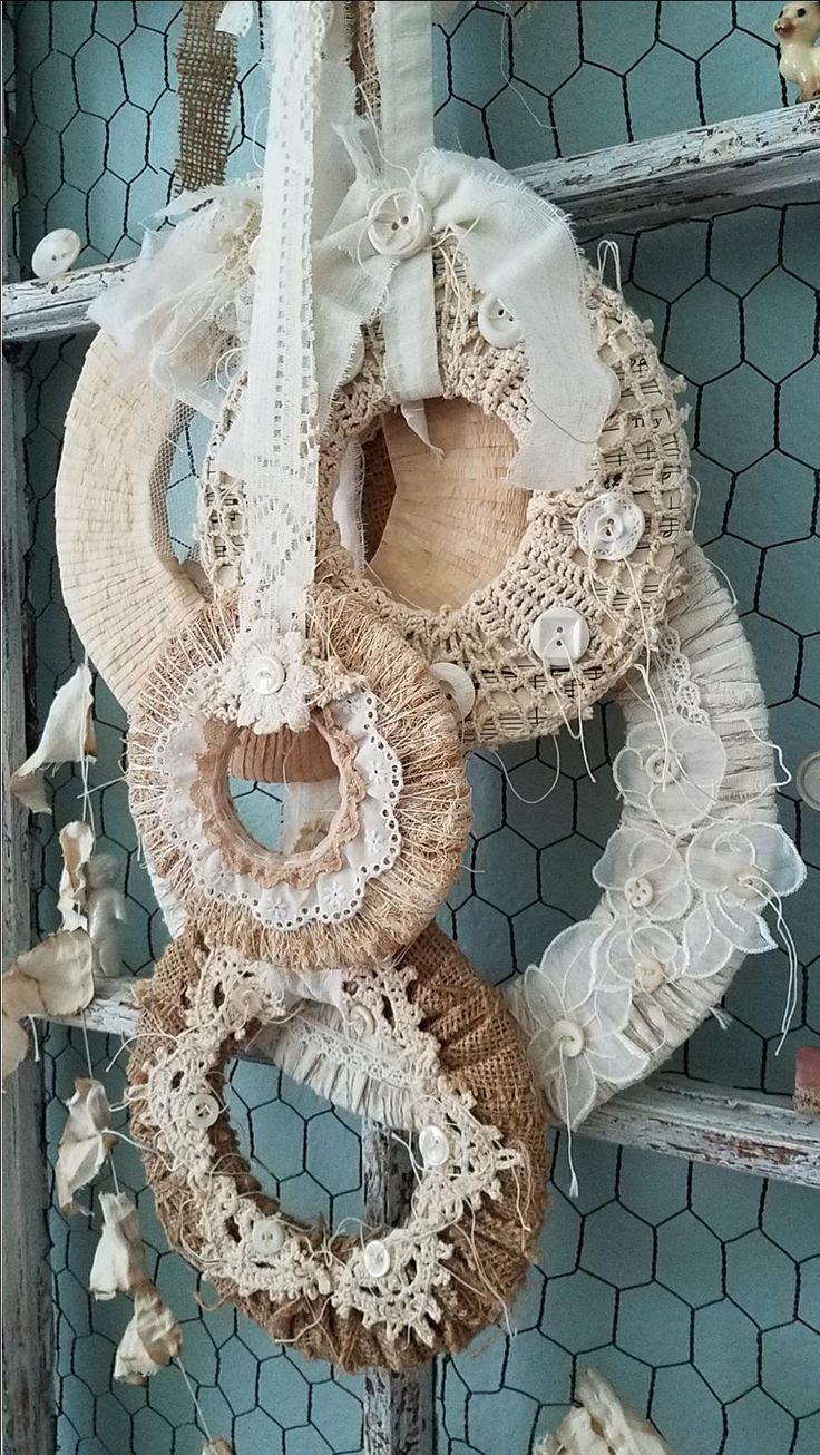 Image of Wreath, Set of 5 Wreaths, Burlap and Lace Wreath, Rustic Wedding Decor, Woodland Wreath