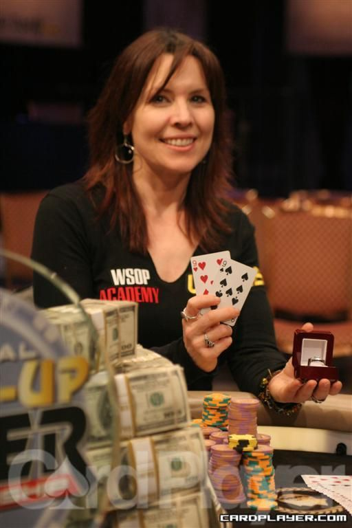 Annie Duke.  Matriarch of poker.  Enjoying her book 'Decide to Play Great Poker'.