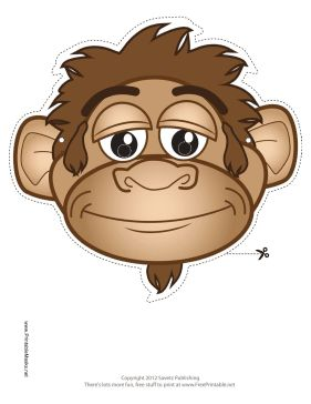 This Monkey Mask features a playful brown monkey. Free to download and print