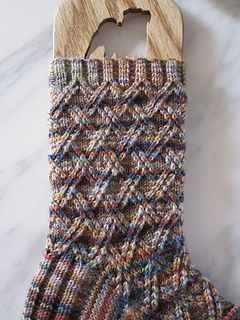 "Farmer MacGregor pattern by Alice Yu. Socktopus' ""Cottontail Socks"" in Socks that Rock yarn, River Rock colorway."