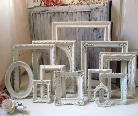 Cottage chic off white/light cream picture frames via etsy @willowsendcottage