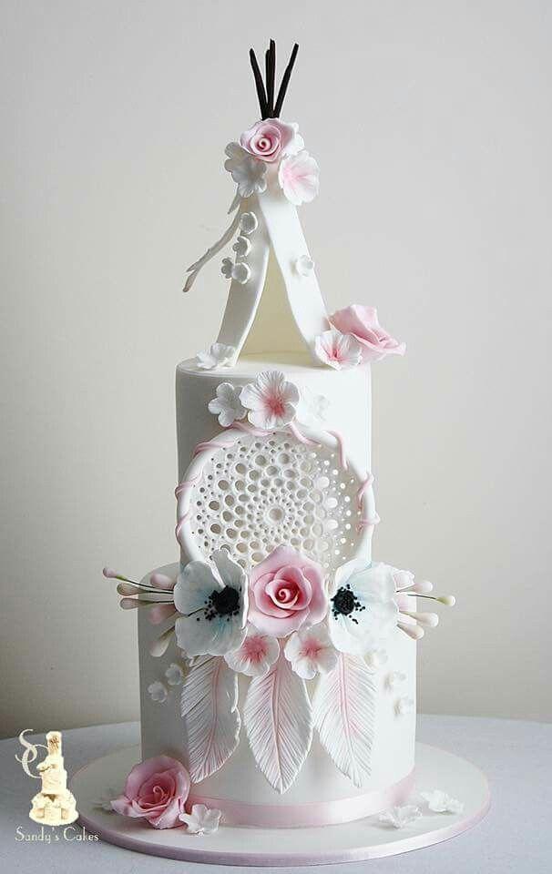 Gâteau de mariage style amérindien