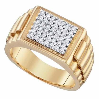 3/8CTW Pave Diamond Gents Ring