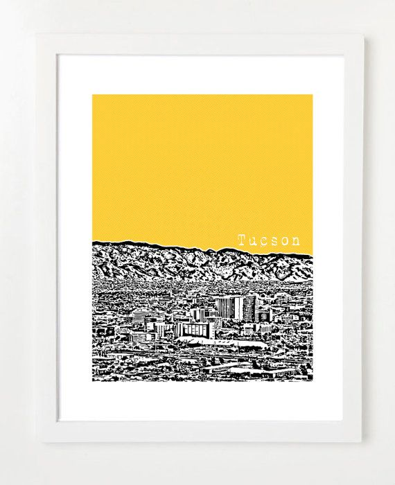 Tucson Skyline Poster   Arizona State Art  City by BugsyAndSprite, $20.00