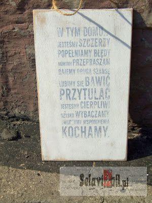 """Selawiart.pl - blog dla osób z pasją !: Tabliczka zawieszka w tym domu...  plate , pendant """" in the house... """""""