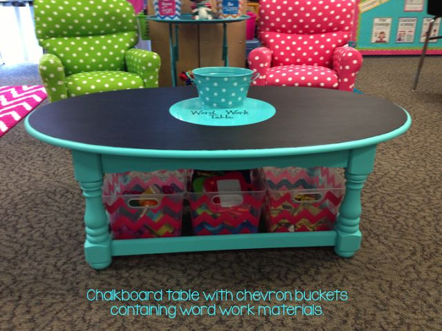 chalkboard word work table! (Those chairs are too cute for words too!)