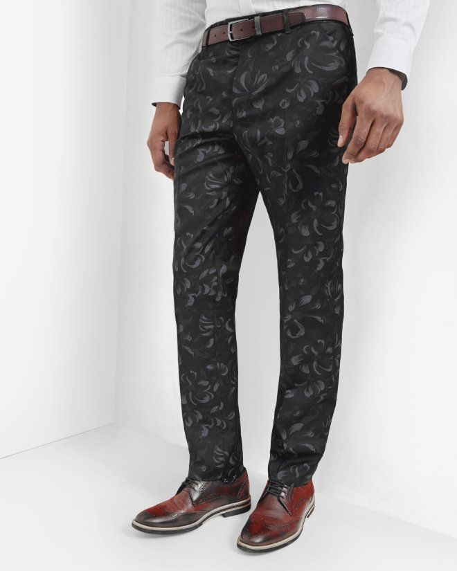 Floral wool trousers - Navy   Suits   Ted Baker UK