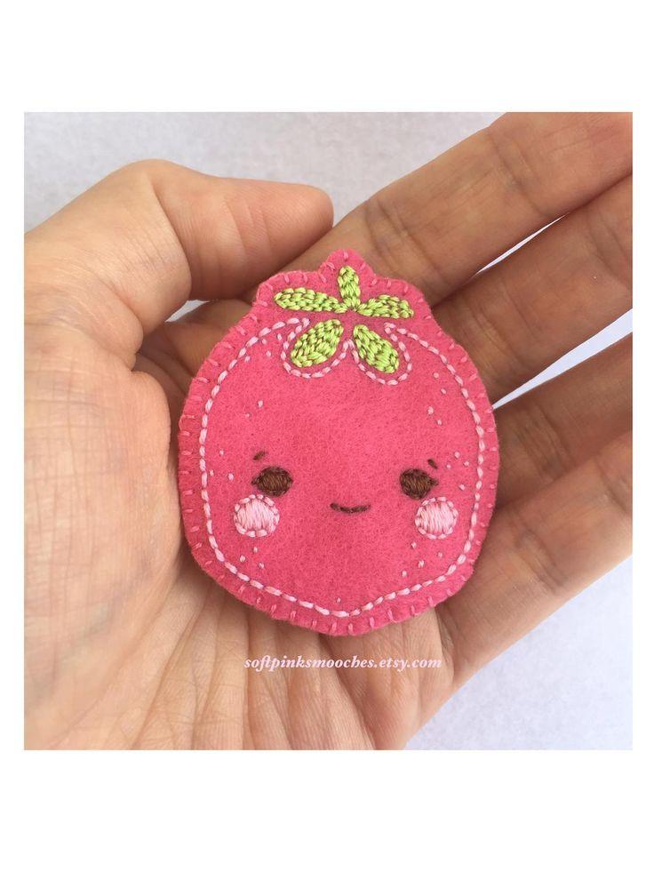 Felt Strawberry Pin   Handmade Felt Badge   Kawaii Felt Strawberry Accessory by softpinksmooches on Etsy