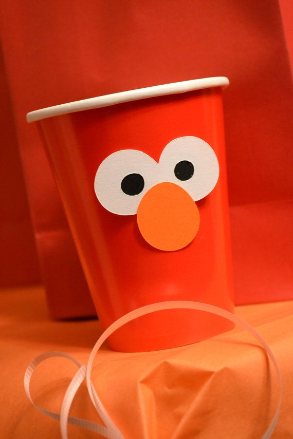 Elmo Party Plate or Cup Embellishment set of by MonicaDawnDesigns