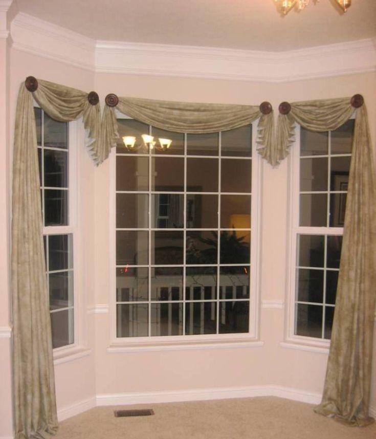 home design and decor pretty window scarf ideas bay window asymmetrical window scarf ideas - Home Window Designs