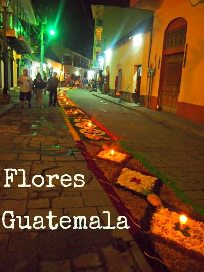 Flores, Guatemala, near Tikal. Stunning flower carpets for Easter. Travl in Central Amrica. See more on World Travel Family blog.