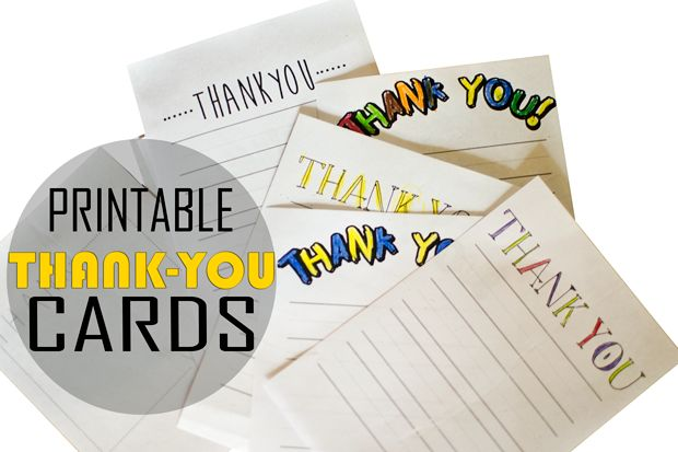 Printable Thank You Cards – with lines for the young writer. We are writing thank you notes to those who gave the children Christmas gifts. Thank you note writing is taking the place of copy work to help ease the tedious burden of writing to a young child :)