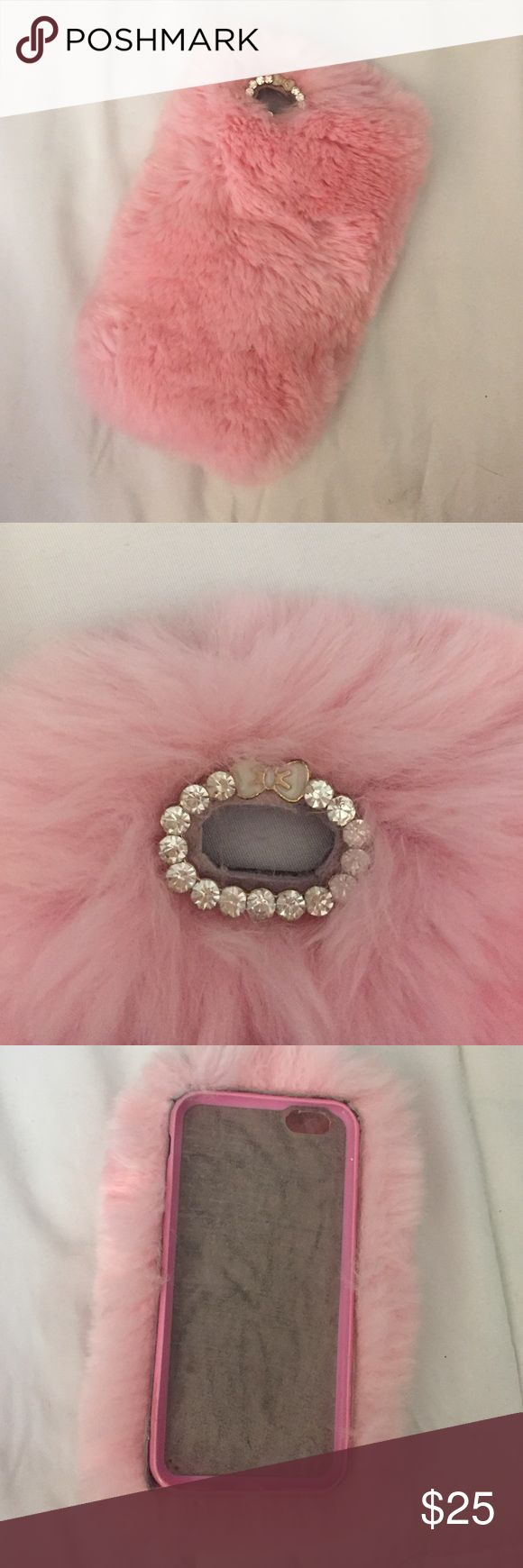 Velvet caviar pink furry iphone 6/6s case Adorable faux rabbit fur iphone case pink fur in great condition. Ive never felt anything softer Velvet caviar Accessories Phone Cases