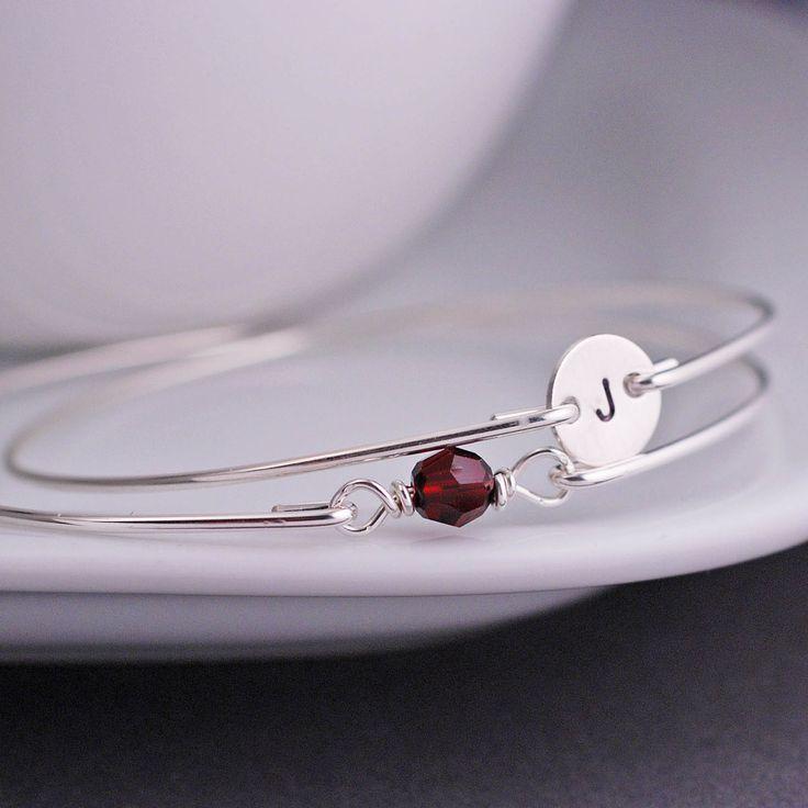 January Birthstone Bracelet Set, Garnet Bracelet, Personalized Swarovski Crystal Birthstone Jewelry by georgiedesigns on Etsy https://www.etsy.com/listing/124101091/january-birthstone-bracelet-set-garnet