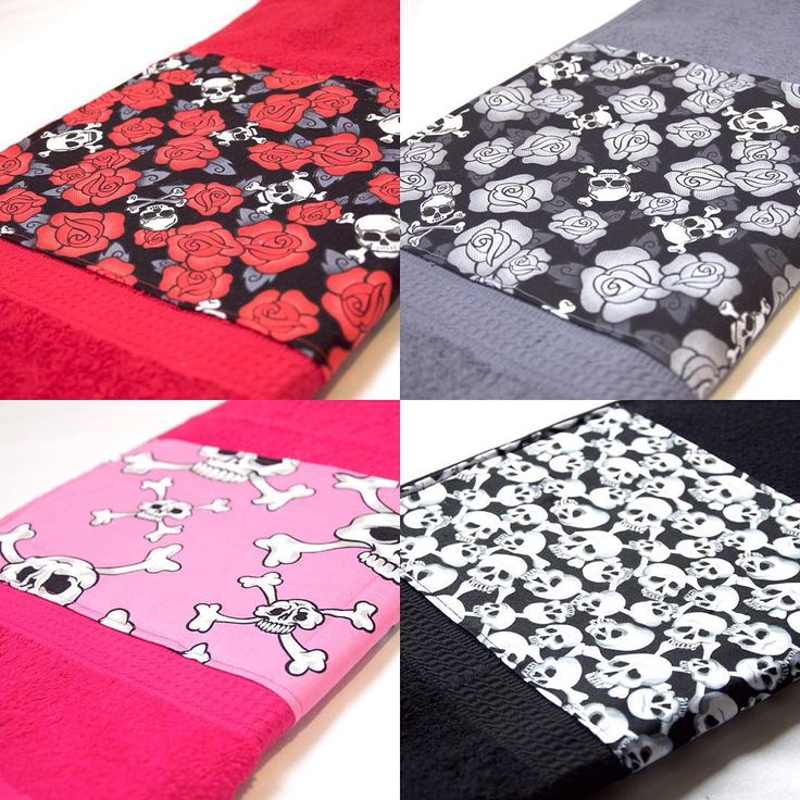 Skull Bath Towels by Pornoromantic www.pornoromantic.etsy.com #pornoromantic #etsy #bathroom #towels #skulls #skull #bathtowels