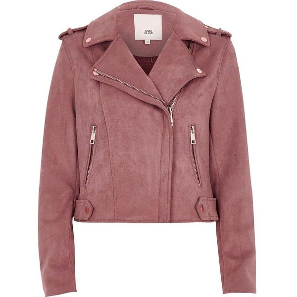 River Island Pink biker jacket (1.596.120 IDR) ❤ liked on Polyvore featuring outerwear, jackets, coats / jackets, pink, women, collar jacket, tall motorcycle jacket, red motorcycle jacket, faux suede jacket and long sleeve jacket