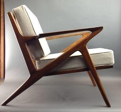 Danish Mid Century Modern Selig Z Style Teak Lounge Chair Chairs - 2 Armchairs