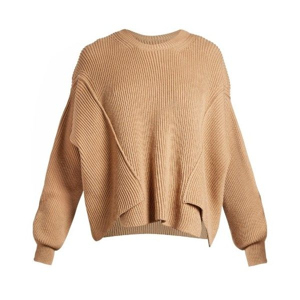Stella McCartney Round-neck ribbed-knit wool sweater ($795) ❤ liked on Polyvore featuring tops, sweaters, camel, slouchy sweater, stitch sweater, camel sweaters, round neck top and beige sweater