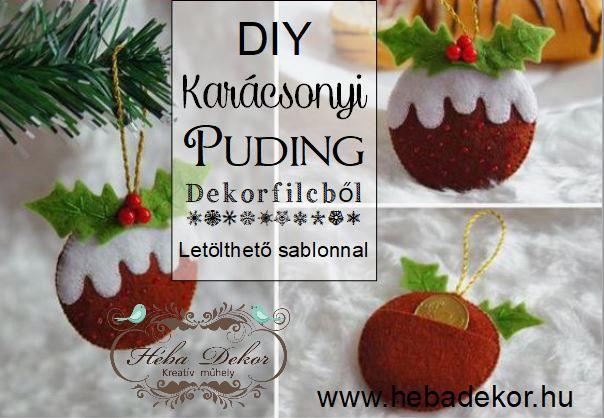 Karácsonyi puding dekorfilcből