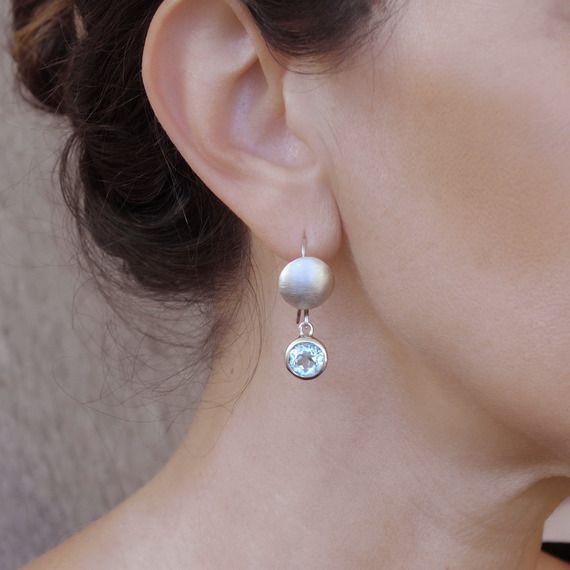 Boucles d'oreilles pendantes topaze bleue en argent 925 Boucles d'oreilles cercle en argent brossé et pierre fine naturelle