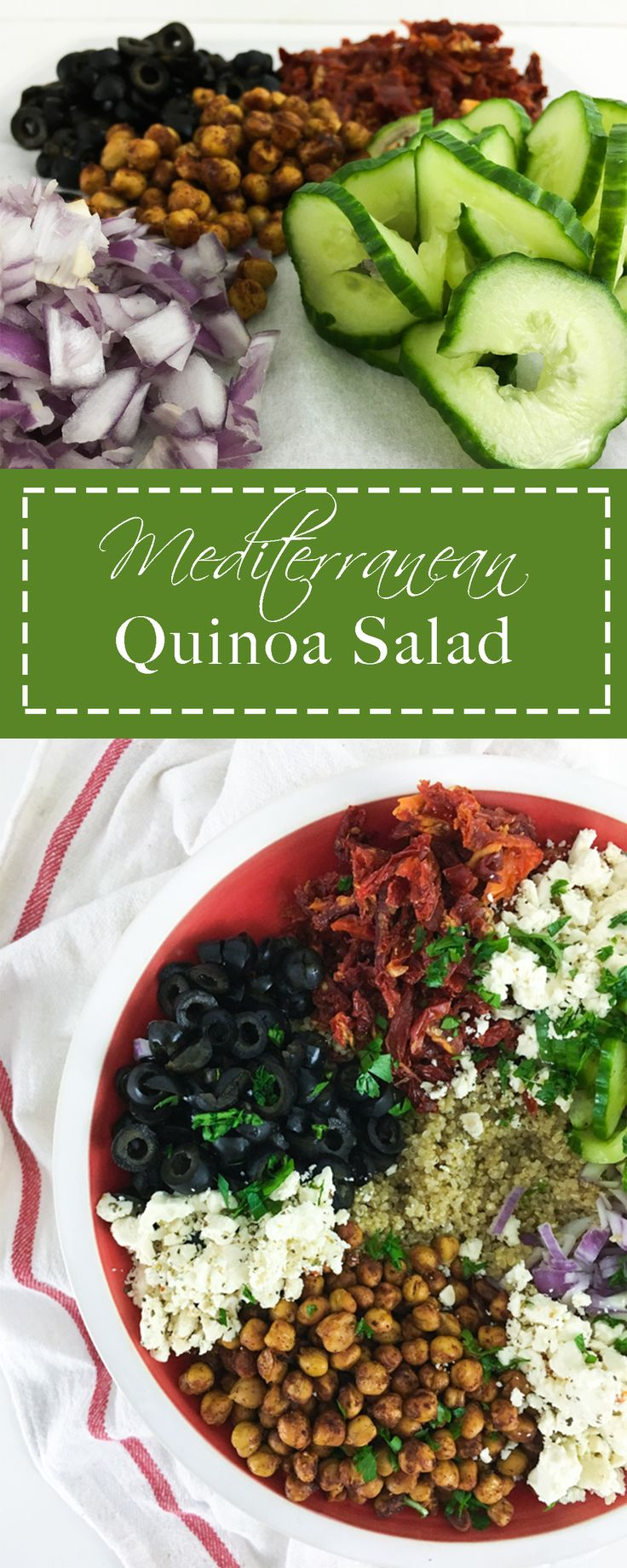 Mediterranean Quinoa Salad is loaded with flavor and healthy, let this be a new go to weekly salad recipe!