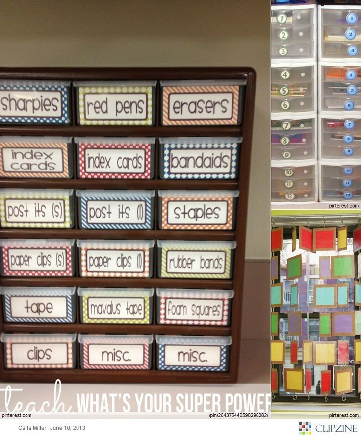 Erasers, pencils and paper clips cluttering your space? Categorize them with labeled drawers :)